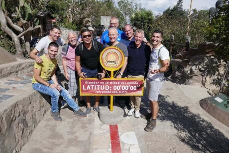Gay group at the Mitad del Mundo equator line