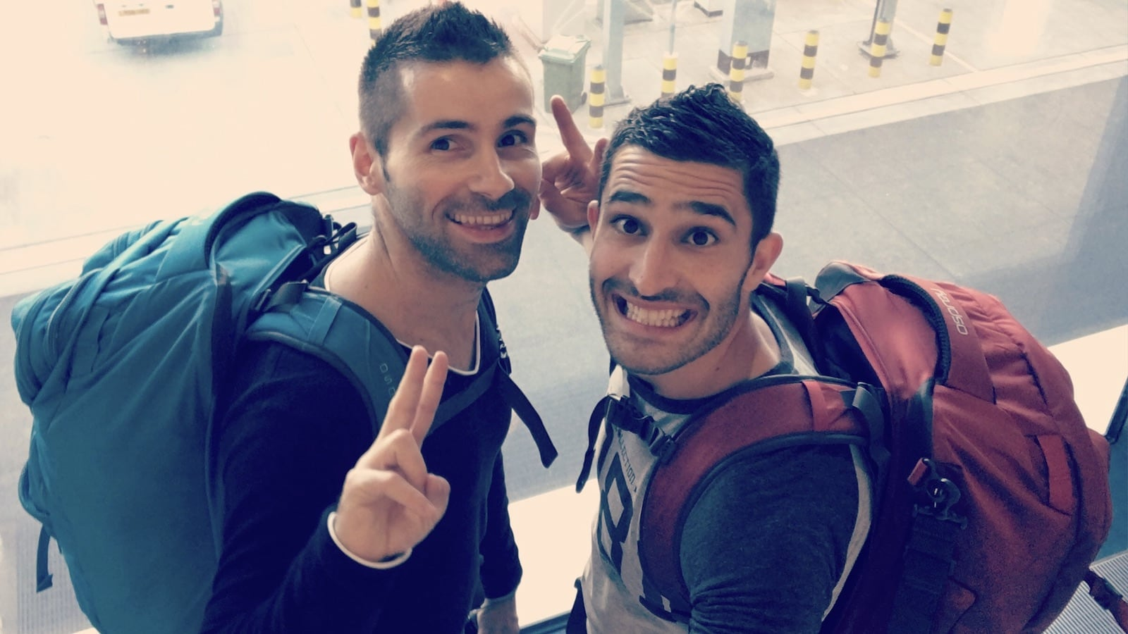 Gay couple backpacking in Asia