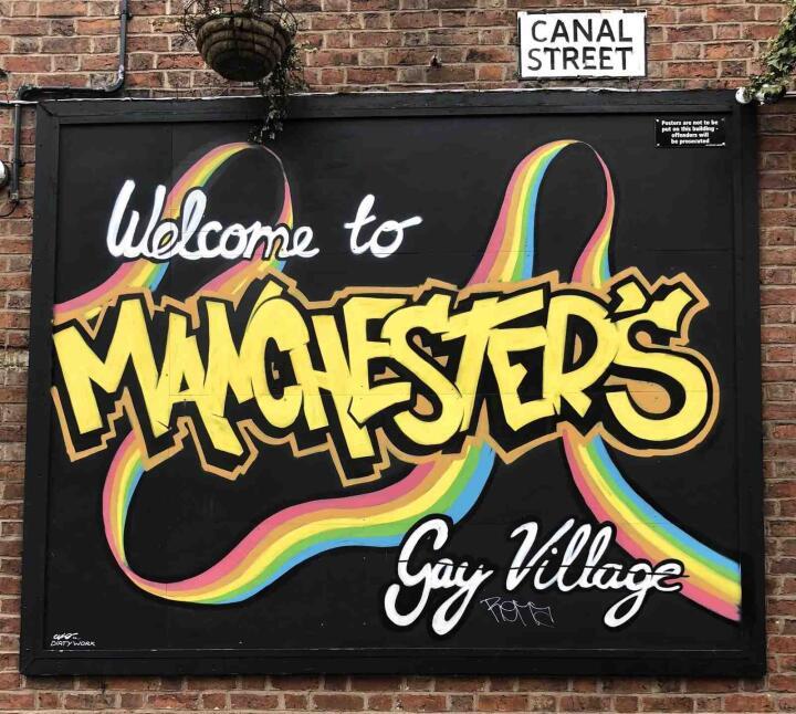 Aldeia gay de Manchester sinal de rua do canal