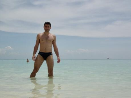 Stefan posing at Patong gay beach in Phuket