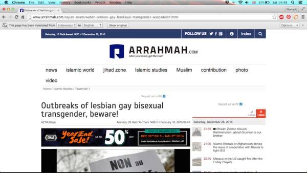 Gay Muslim Indonesia Islamic media Arrahmah