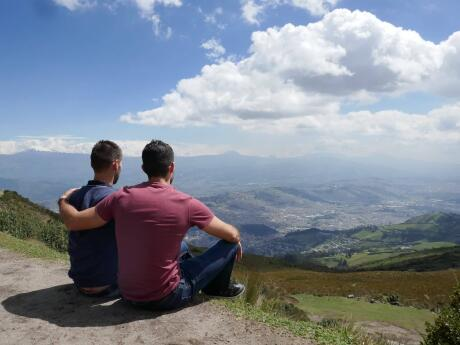 Gay couple at top of Quito TeleferiQo
