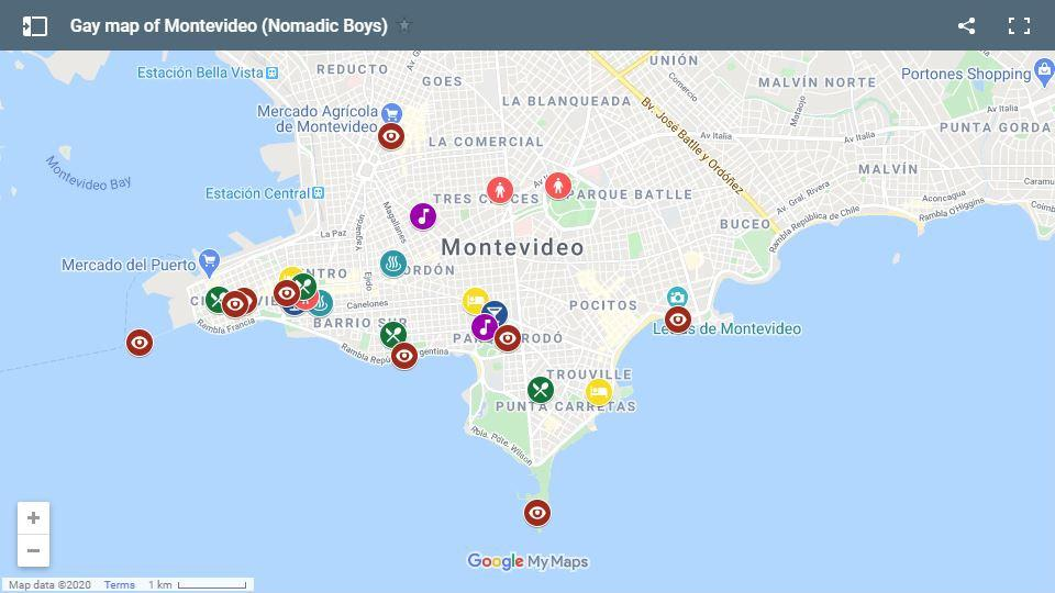 Our gay map of Montevideo showing the best gay bars, hotels and hangouts for gay travellers to check out while visiting