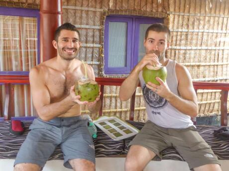 Drinking Stefan favourite drink in the gili islands