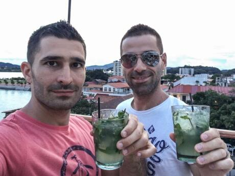 Nomadic Boys drinking mojitos at Gato Blanco a gay friendly bar in Casco Viejo in Panama