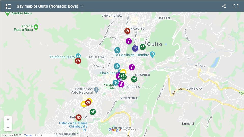 Use our gay map to plan your trip to Quito