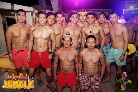 Sexy gay boys at the jungle circuit party on Boracay