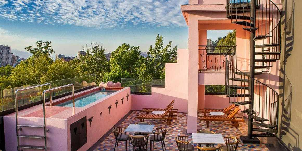 O lindo terraço no luciano K gay friendly boutique hotel em santiago