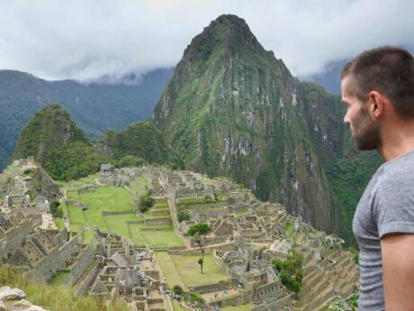 Sebastien marvelling at Macchu Picchu, the ancient lost city of the incas in Cusco