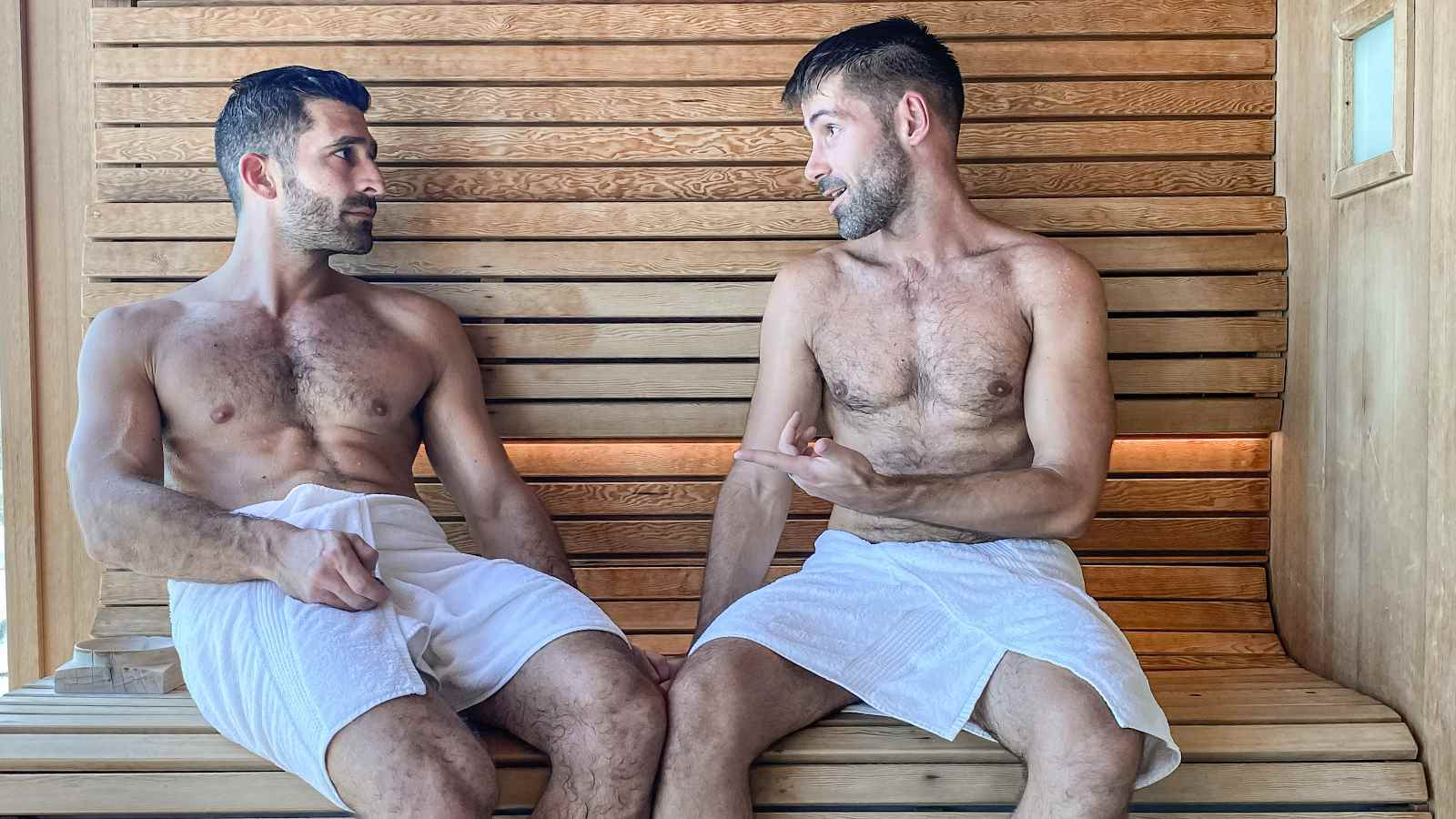 Nomadic Boys chilling in a gay sauna in Manchester