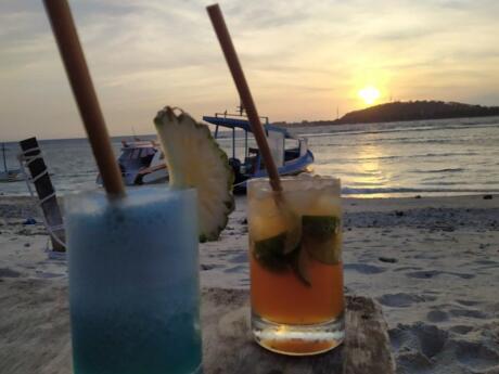 Cocktails on the beach at Sasak Bar on Gili Air