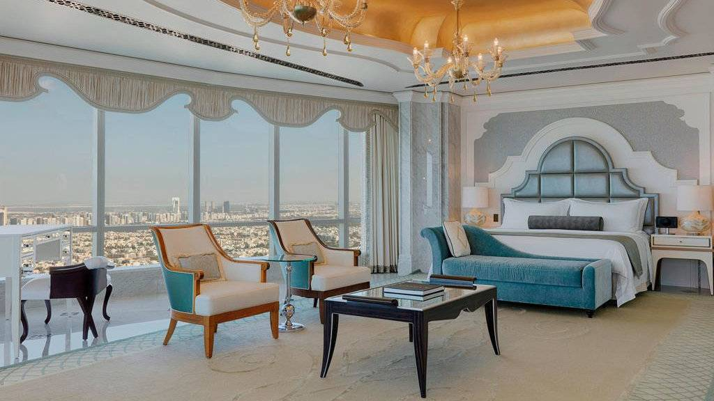 For a luxurious stay in the city of Abu Dhabi, that's still right by the beach, you can't go past the St Regis Abu Dhabi