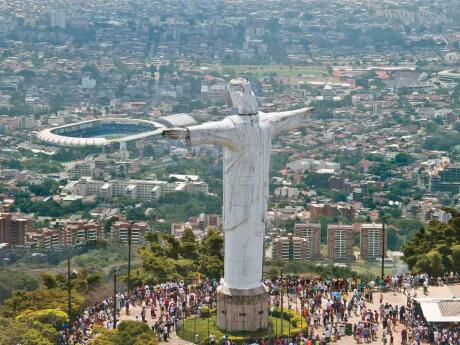 The statue o Cristo in Cali, the salsa capital of Colombia