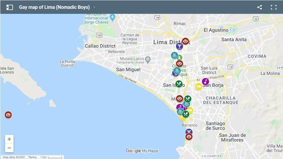 Our gay map of Lima with all the gay bars, clubs, hotels and sightseeing highlights we've mentioned in this guide