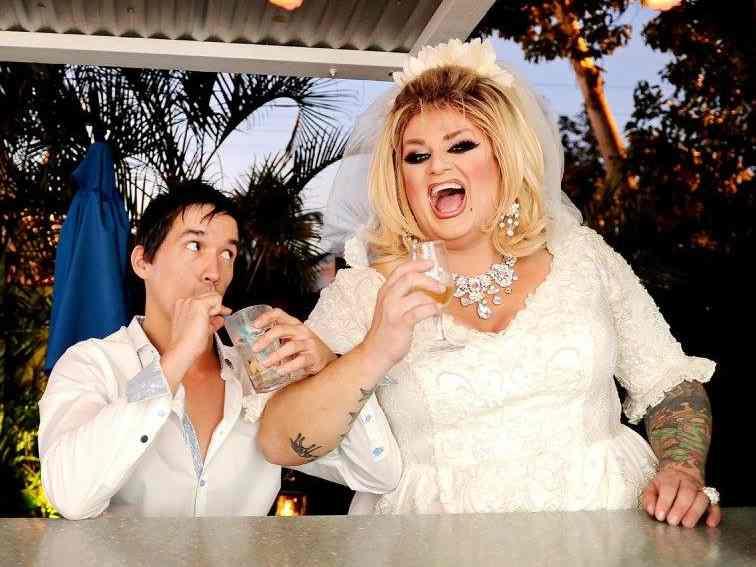 Drag queen in a wedding dress at Aqua nightclub in Key West