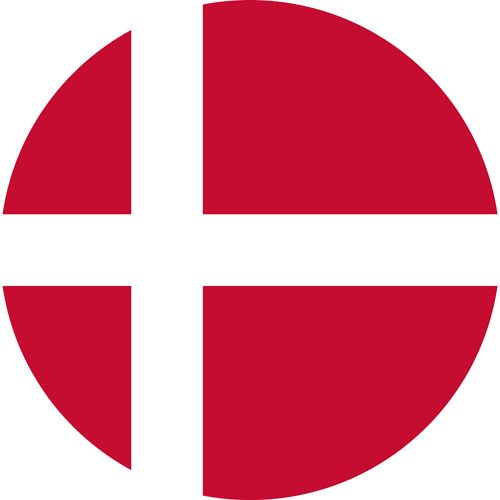The Danish flag is red with a white cross in the middle