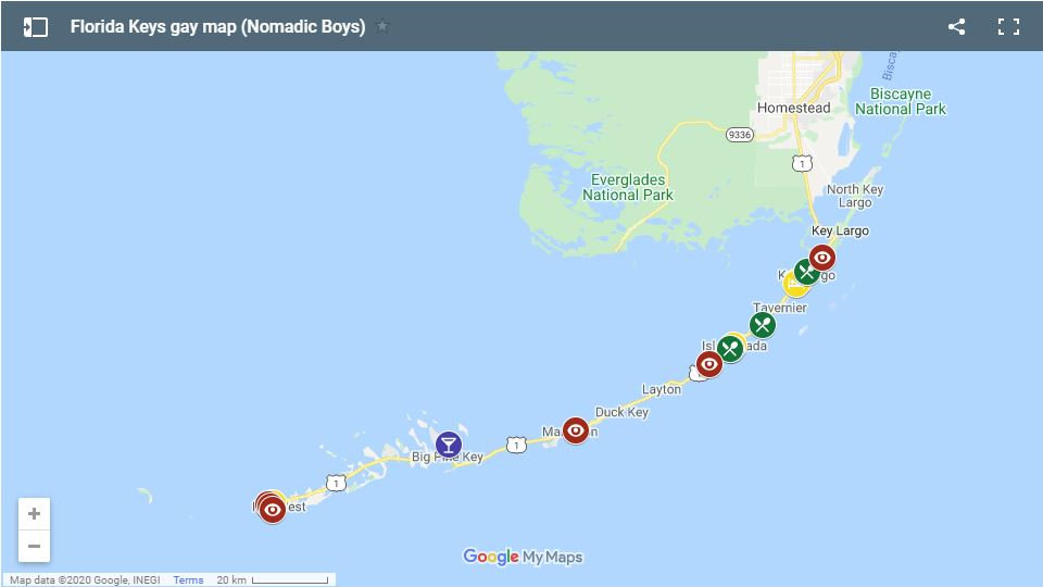 Use our gay map of the Florida Keys to plan your own fabulous trip to this stunning destination