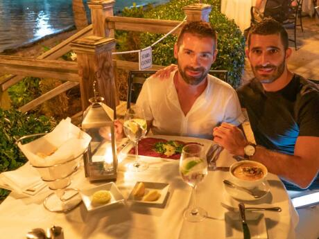 Nomadic Boys dining at romantic and gay friendly restaurant Latitude in Key West