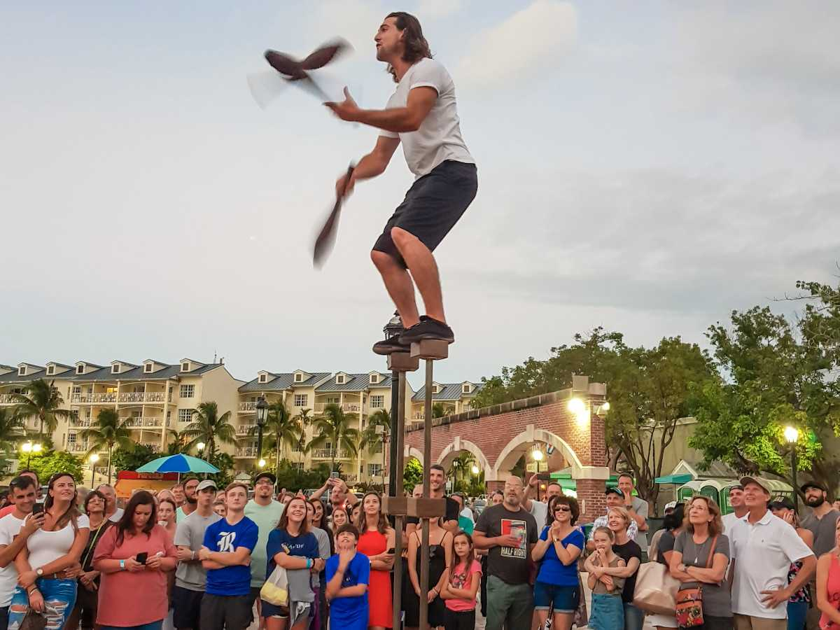 very skilled man juggling in Mallory square in Key West