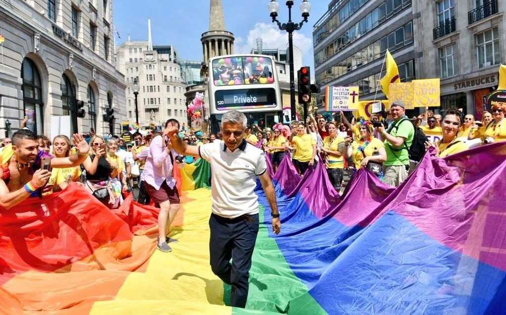 Sadiq Khan Mayor of London marching for Pride