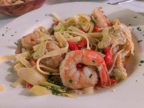 Delicious pasta dish with prawn at the New York Pasta gardens in Key West