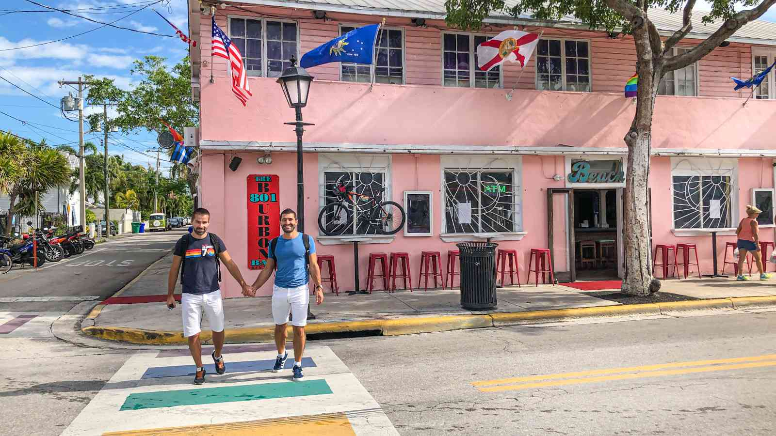 The rainbow crossing on Duval Street in Key West is the heart of the island's awesome gay scene
