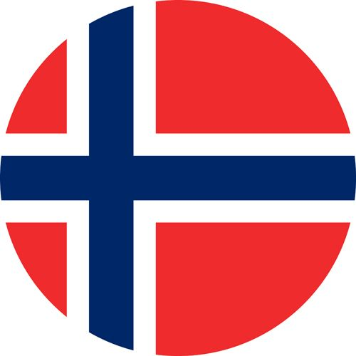 The flag of Norway, Red with a white and blue cross