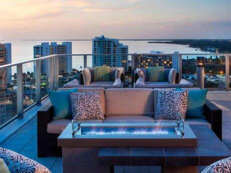 The rooftop bar at the Westin Sarasota is an incredible spot for a romantic cocktail at sunset and a bite to eat