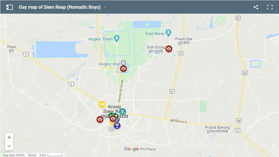 Our gay map of Siem Reap showing all the best gay friendly hotels, gay bars, clubs and more