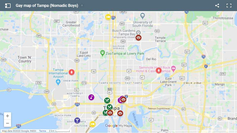 Our gay map of Tampa in Florida with all our favourite places to stay, eat, party and more!