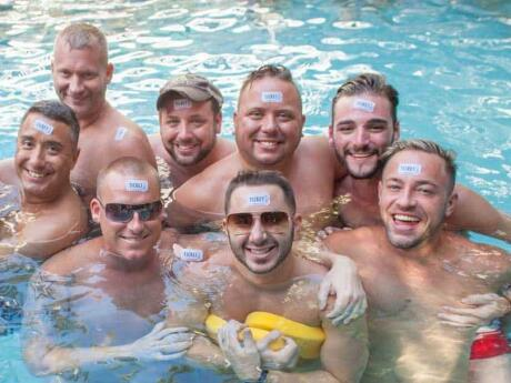 A group of gay guys at Island house pool party in Key West