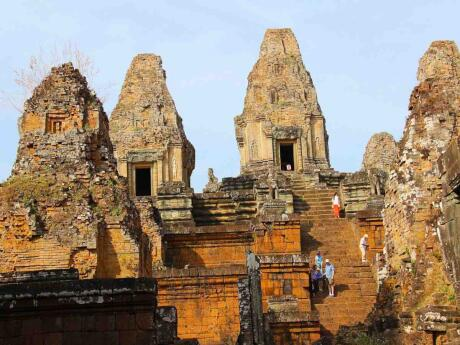 For a quieter alternative to sunrise at Angkor Wat, you can watch the sun set from Pre Rup temple