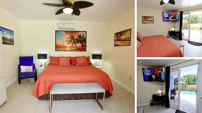 Você pode ficar em uma sala privada ao lado da piscina neste Airbnb gay em Fort Lauderdale