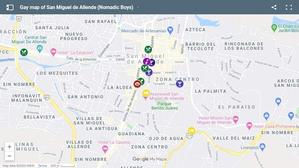 Use our gay map of San Miguel de Allende to plan your own fab trip