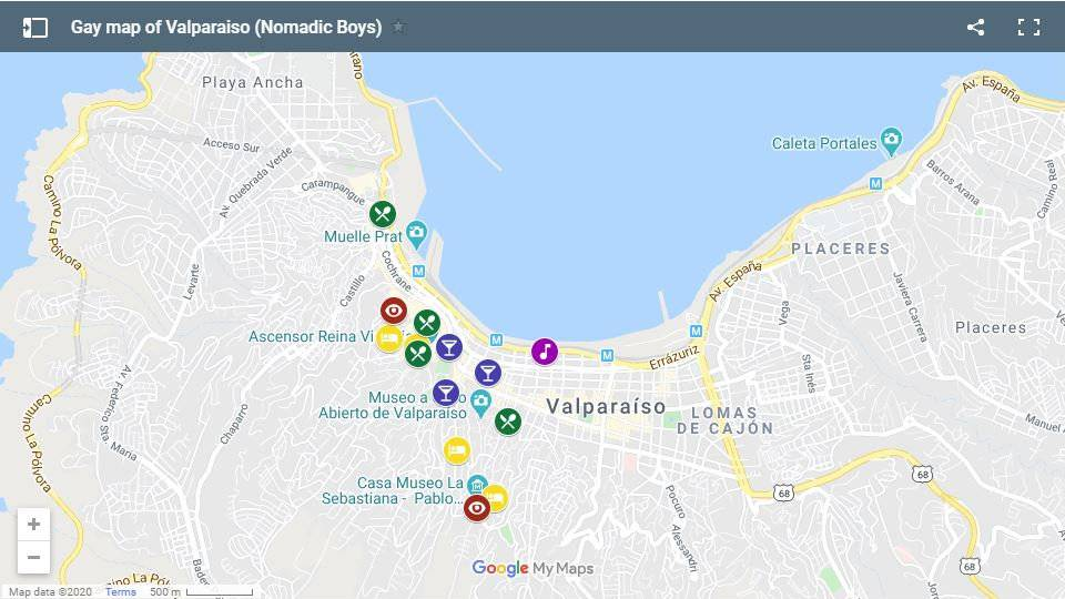 Use this map to plan your own fabulous gay trip to Valparaiso