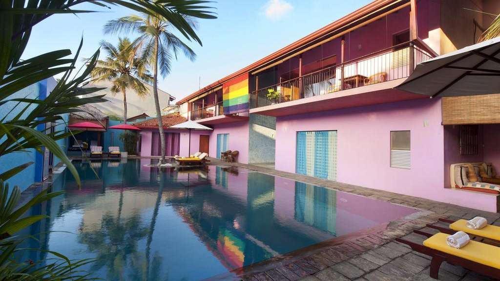 The Dickman Resort is a luxurious and colourful place to stay in Negombo which flies it's gay flag proudly!