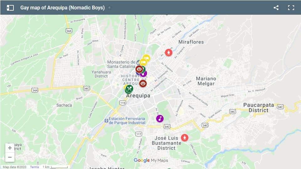Este é o nosso mapa gay para Arequipa com os melhores lugares para viajantes gays ficarem, comerem e festejar!