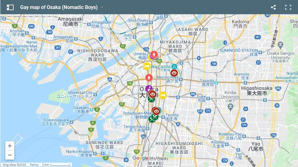 Use our gay map of Osaka to plan your own fun trip to this exciting city