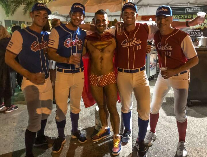 Baseball players halloween party in Fort Lauderdale