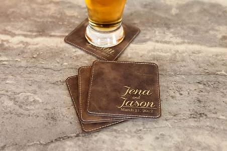 Customized leather coasters are a great gift for gay couples who hate water rings!