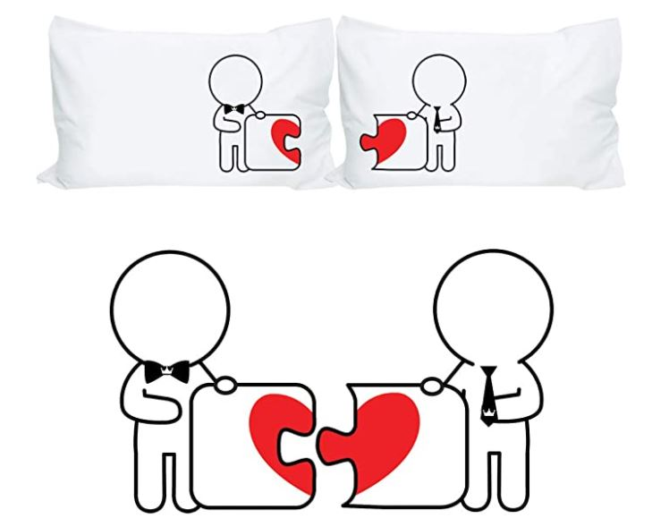 Matching pillow cases are a sweet gift to get for a gay couple
