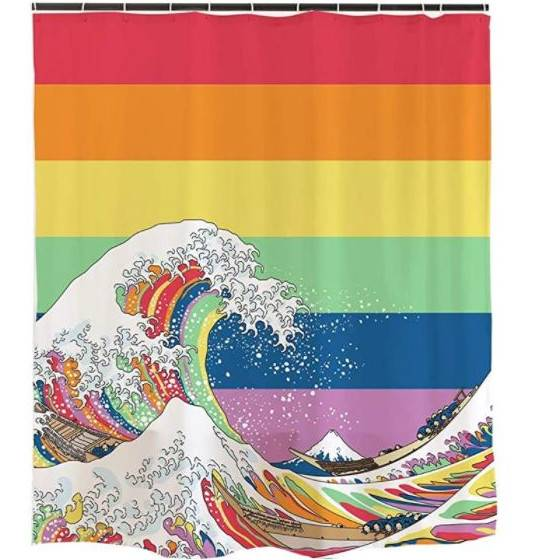 Brighten up a gay couple's bathroom by getting them the gift of a fabulous rainbow shower curtain