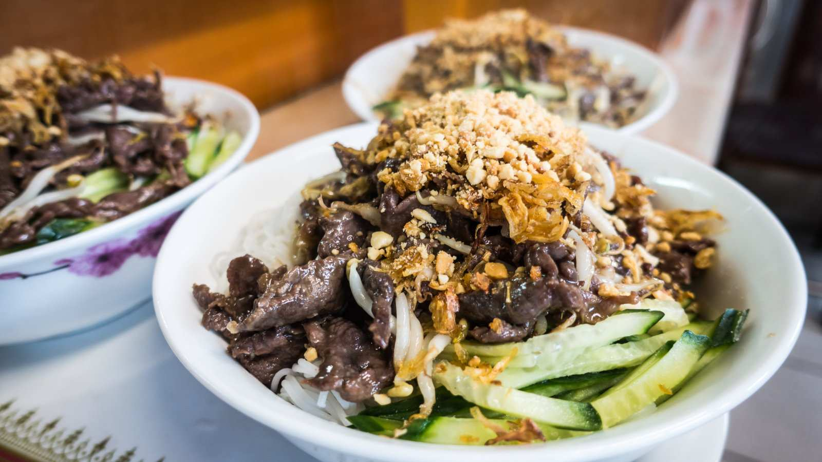 Bun bo nam bo is a delicious Vietnamese noodle dish without the broth