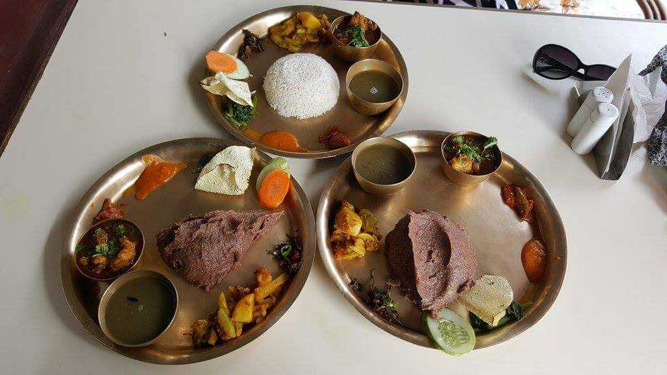 Dhido is a kind of pudding made from flour and boiling water, and a traditional Nepalese food we love