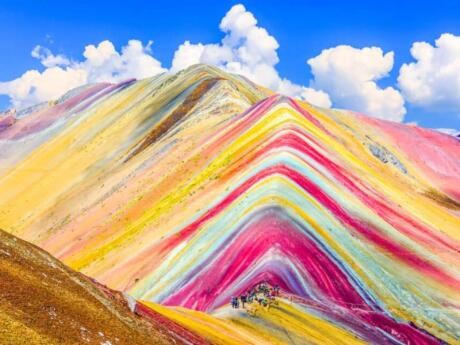 The incredible multi-colored layers in Peru's rainbow mountain make it an unforgettable place to visit