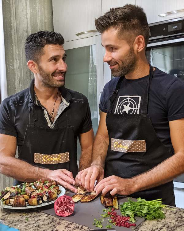 Nomadic Boys cute gay couple cooking together