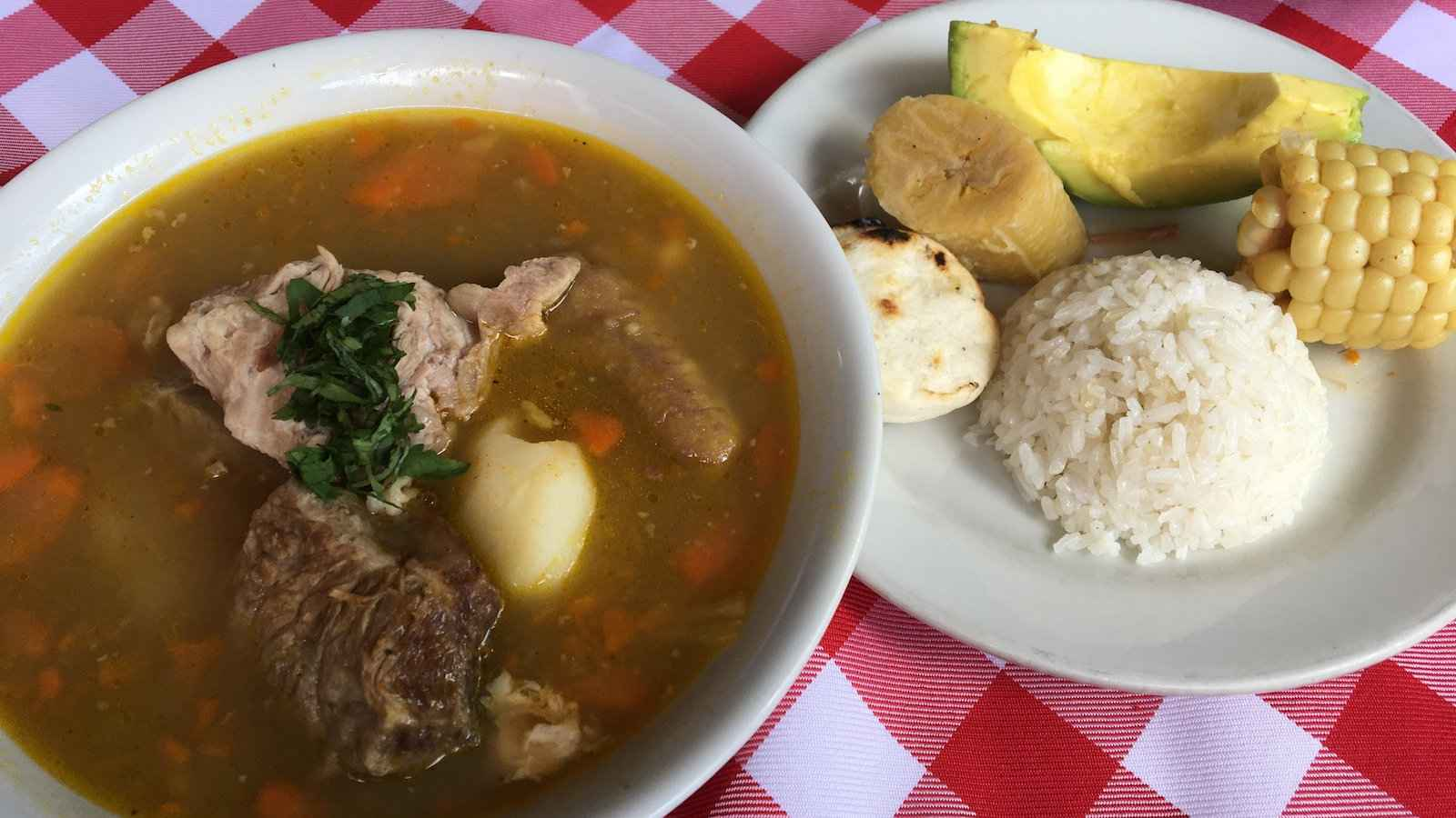 Sancocho is a hearty stew from Colombia that is made differently all over but is pretty much always delicious