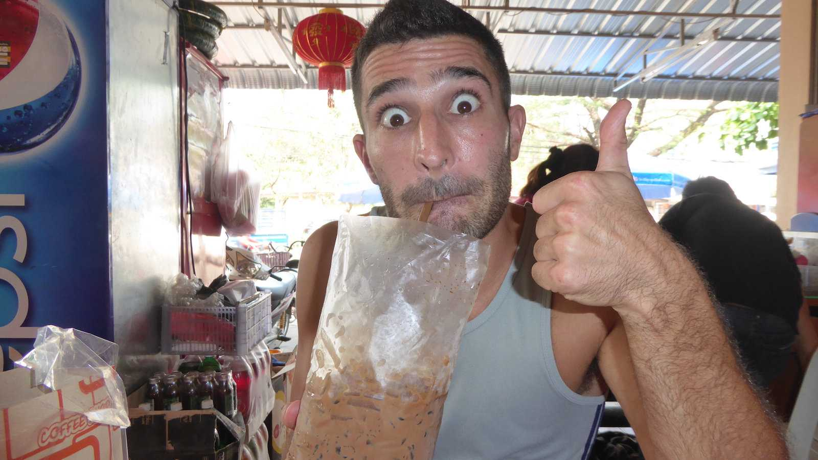 Laos produces excellent coffee which you will be able to buy from stalls in bags with condensed milk and ice
