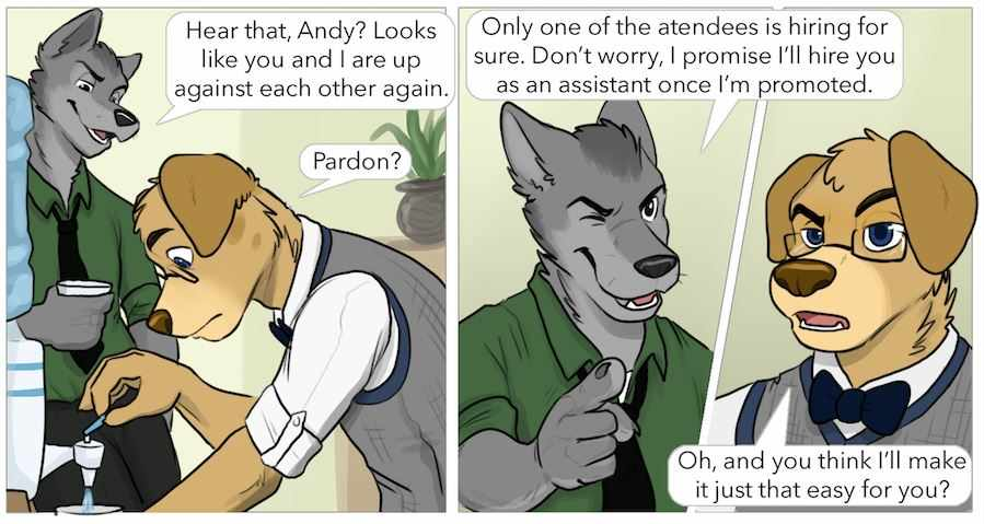 The Internship is a gay furry comic that looks at the question of if a gay guy should choose career or love