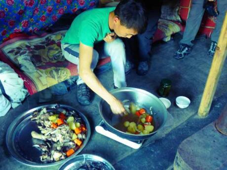 Mongolian khorkog is a delicious barbecue and one of the highlights of Mongolian cuisine